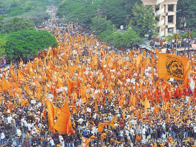 The Maratha community holding a protest rally demanding reservation and justice for the Kopardi rape victim in Sangli last month.