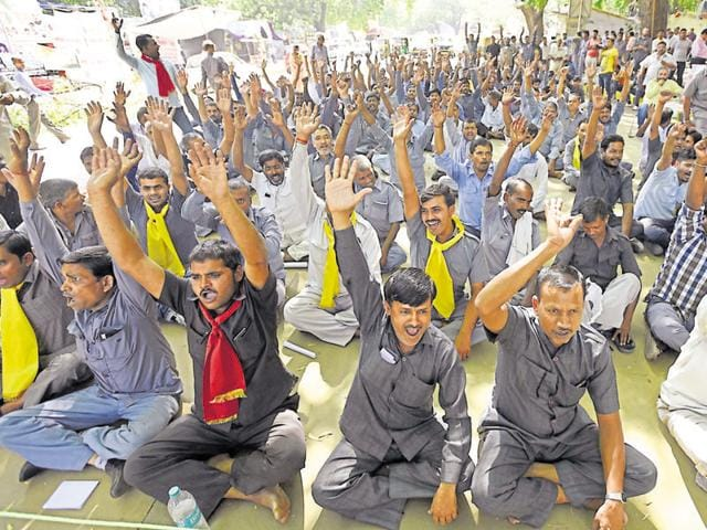 Delhi's auto and taxi unions on Thursday staged a protest against at Jantar Mantar against the government's alleged inaction against app-based cab companies.