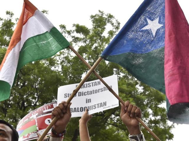Mazdak Dilshad Baloch (centre), son of prominent author-activist Naela Qadri Baloch and filmmaker Mir Ghulam Mustafa Raisaini, takes part in a protest against Pakistan, in New Delhi .
