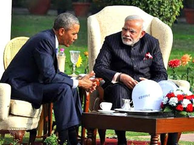 US President Barack Obama (right) with Prime Minister Narendra Modi on the sidelines of the Association of Southeast Asian Nations (Asean) Summit in Vientiane.