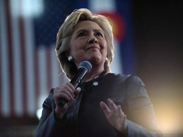 Democratic presidential nominee Hillary Clinton speaking during a Colorado Democratic party rally in the Palace of Agriculture at the state fairgrounds in Pueblo, Colorado.