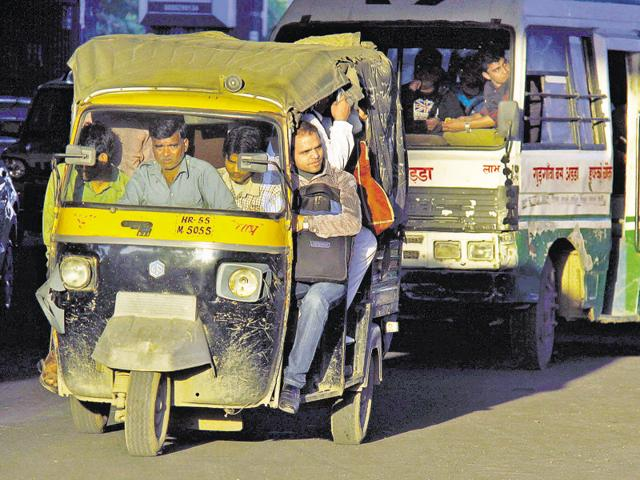 Commuters are forced to depend on shared autos and shuttle services as the bus service is irregular in the city.