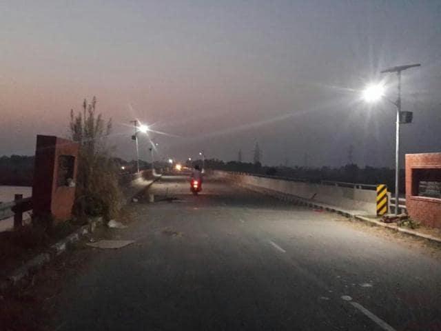 The Kathlore Bridge illuminated with solar lights in Pathankot on Thursday.