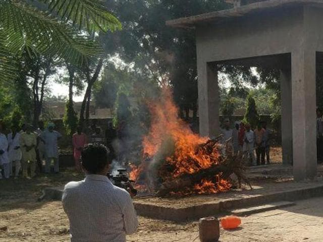 The body being cremated in Mansa on Friday.