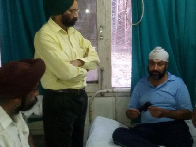 Kulwinder Singh in Rajindra hospital on Thursday.
