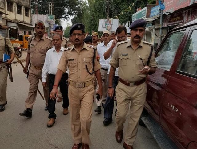 Police said the Durga idol was being taken for immersion from Baheliya village off Fakharpur when trouble broke out.