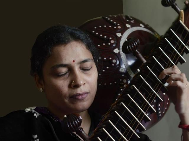 Sharada Mushti  one of the few rudraveena players in the country.