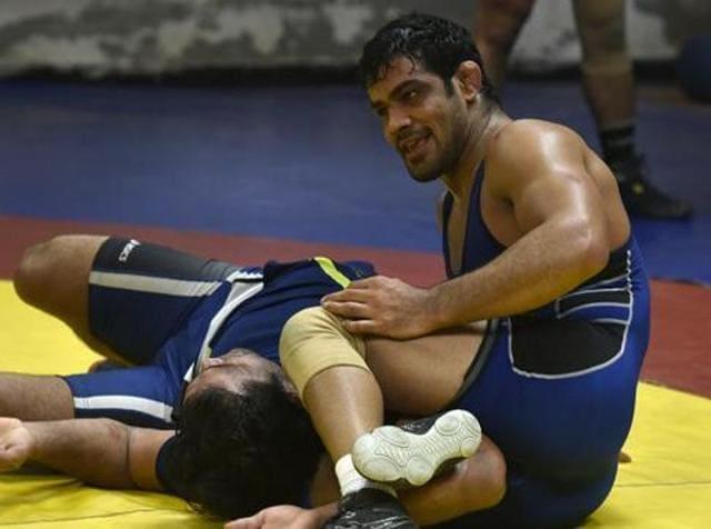 Wrestler Sushil Kumar during a practice session at Chhattarshal Stadium in New Delhi.