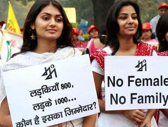 Volunteers at a rally against female foeticide, in New Delhi.