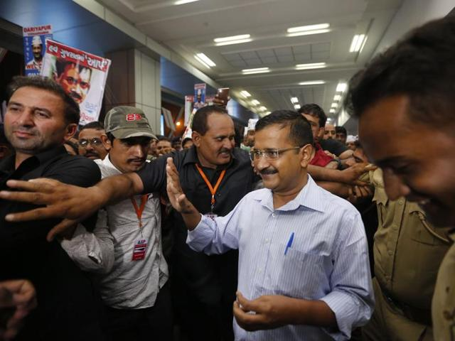 Delhi chief minister Arvind Kejriwal arrives at Ahmedabad airport  on Friday.
