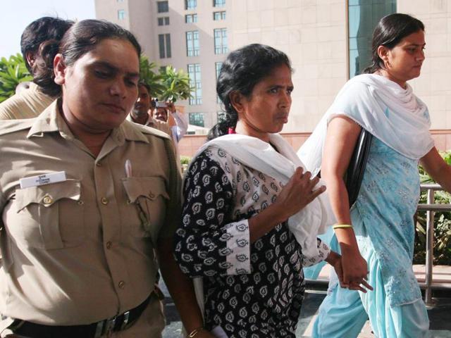 Tribal rights activist Soni Sori during a court session in New Delhi.