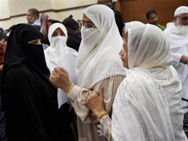 Muslim women during All India Muslim Personal Law Board's press conference in New Delhi.