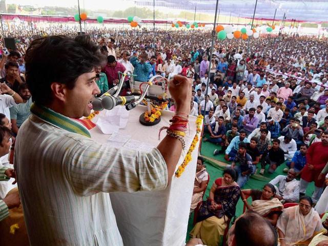 Jyotiraditya Scindia addressing 'Jan Akrosh Rally' at Bhind on Thursday.