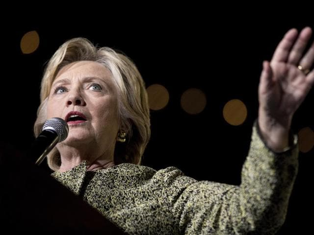 File-This photo taken Oct. 12, 2016, shows Democratic presidential candidate Hillary Clinton speaking at a rally at the Smith Center for the Performing Arts in Las Vegas. Clinton privately said the U.S. would