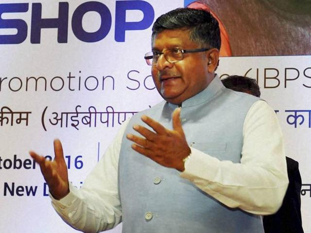 Union law minister Ravi Shankar Prasad during an event in New Delhi.