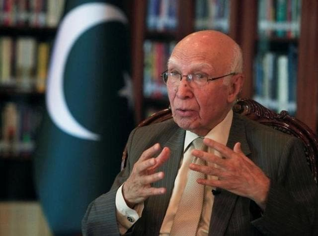 Pakistan Prime Minister's advisor on foreign affairs Sartaj Aziz speaks during an interview in Islamabad.
