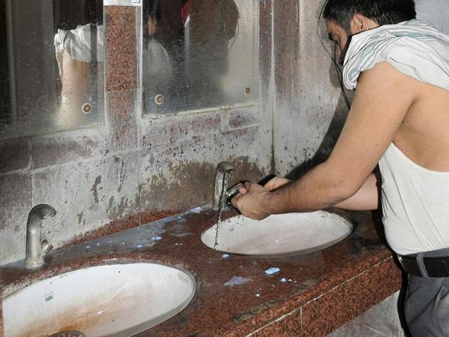 A speaker in the washroom at Inter State Bus Terminal in Ludhiana on Thursday.