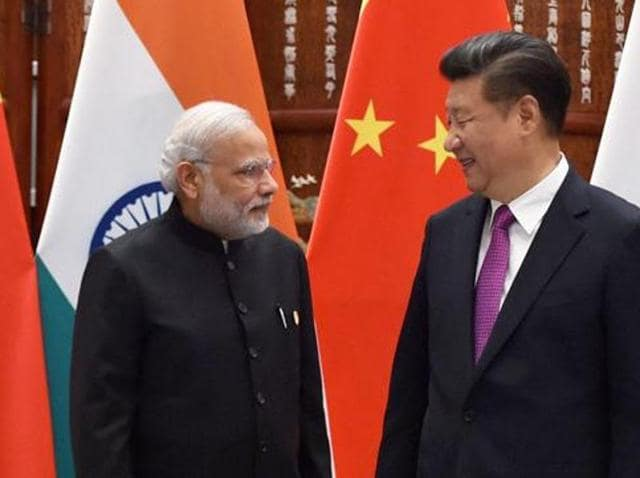 Prime Minister Narendra Modi and Chinese President Xi Jinping before a bilateral meeting at Westlake State House in Hangzhou, China.
