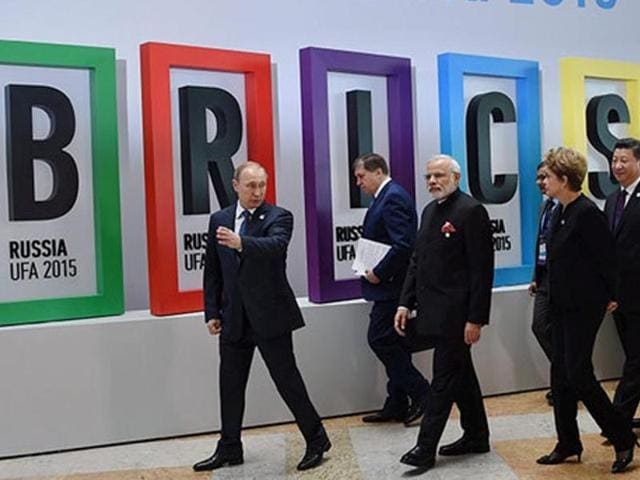Prime Minister Narendra Modi with Russian President Vladimir Putin, Brazilian President Dilma Rousseff, Chinese President Xi Jinping and South African President Jacob Zuma after the welcome ceremony at the 7th BRICS Summit in Ufa.