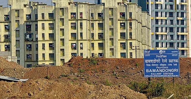 Union Railway Minister, Suresh Prabhu is taking updates of the developments of Nerul-Seawoods-Uran railway project using drones at Bamandongri Railway Station Ulwe in Navi Mumbai
