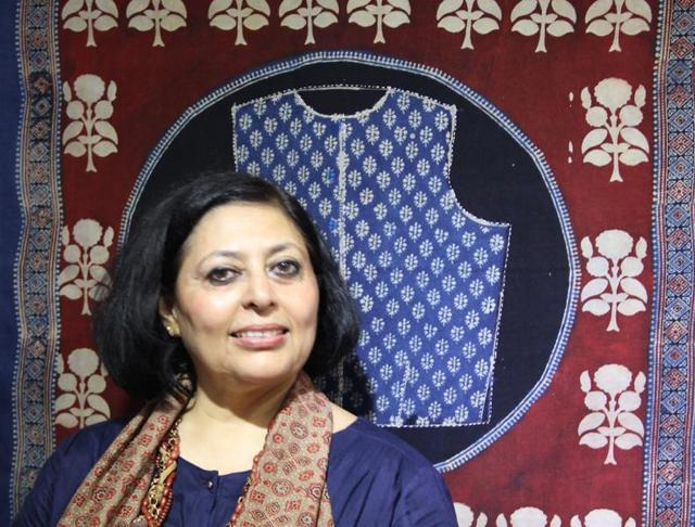 Textile artist Shelly Jyoti works with Ajrakh  craftsmen in Gujarat. She has created 20 Ajrakh works on khadi for her upcoming exhibition in Delhi.