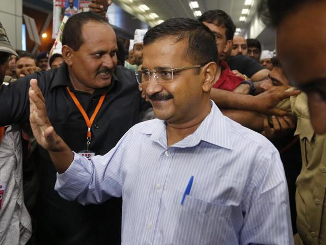 Delhi chief minister Arvind Kejriwal in Ahmedabad on Friday.