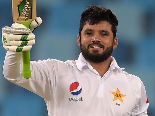 Pakistani batsman Azhar Ali celebrates on the second day of first day-night test between Pakistan and the West Indies.