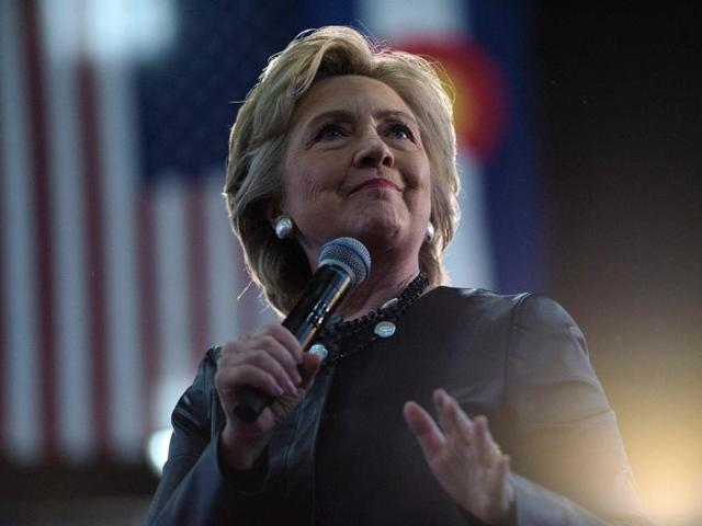 This file photo shows Democratic presidential nominee Hillary Clinton speaking during a Colorado Democratic party rally.