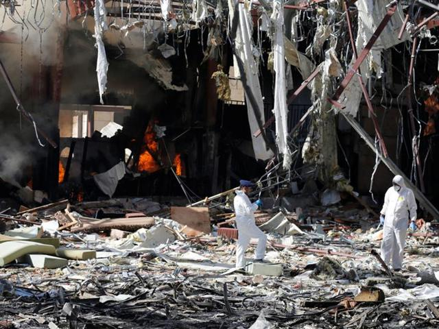 File photo taken on October 8 shows the destruction following airstrikes on a funeral hall in the Yemeni capital Sanaa by Saudi-led coalition airplanes. The Saudi-led coalition battling Yemeni rebels said on Saturday that one of its warplanes had
