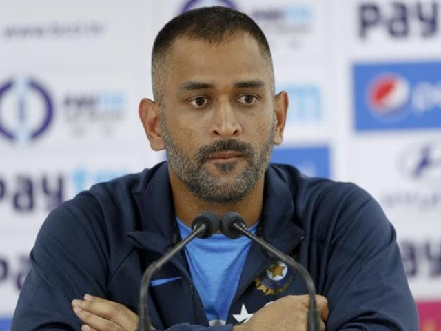 Indian ODI cricket team skipper Mahendra Singh Dhoni attends a press briefing in Dharamsala.