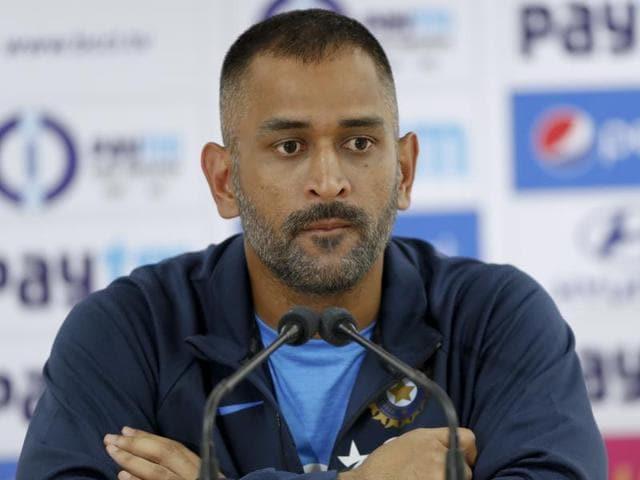 Indian ODI cricket team skipper Mahendra Singh Dhoni attends a press briefing in Dharamsala.