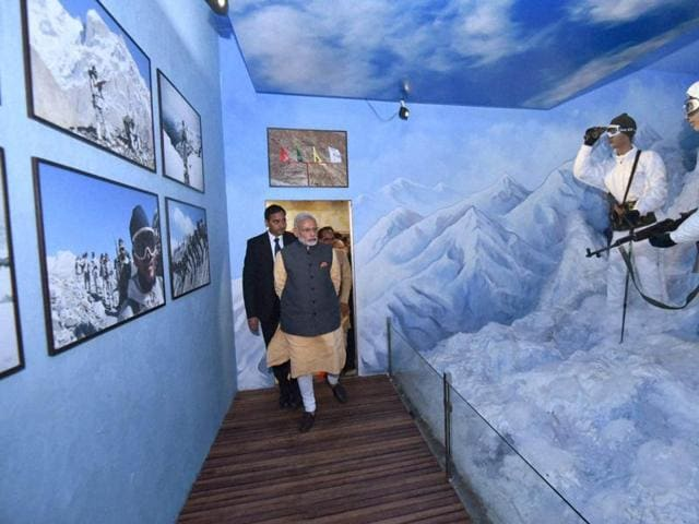 Prime Minister Narendra Modi and chief minister Shivraj Singh Chouhan view the galleries in the Shaurya Smarak after the former unveiled the war memorial in Bhopal on Friday.