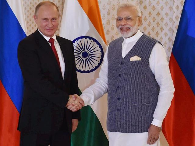 Russian President Vladimir Putin was welcomed by Prime Minister Narendra Modi ahead of the 17th India-Russia annual summit meet in Benaulim, Goa.