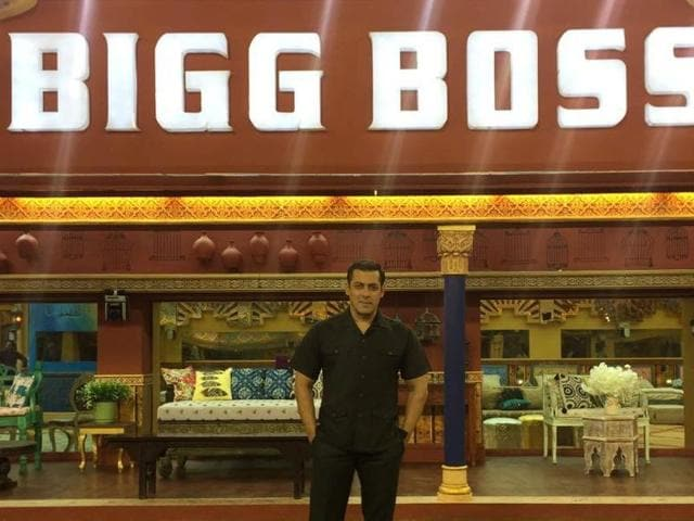 Salman Khan in front of the Bigg Boss 10 house.