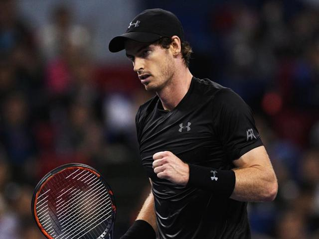 Andy Murray of Great Britain celebrates after winning against Gilles Simon of France.