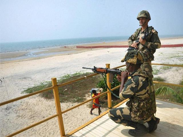 Security personnel keep vigil at a beach in Goa. A multi-tier security apparatus has been deployed in Goa for the BRICS Summit.