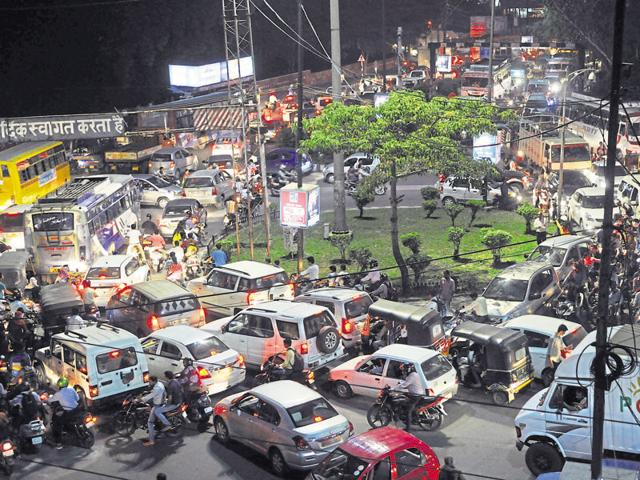 Some roads in Bhopal took extra load of traffic after barricades were put for passage of Prime Minister's convoy.