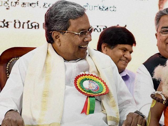 Karnataka CM Siddaramaiah at the inauguration of 'Valmiki Jayanti' celebrations in Bengaluru on Saturday.