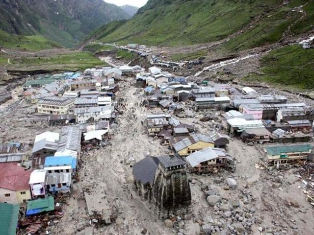 A file photo of Kedarnath Temple and the buildings around it following cloudburst and flash floods in Uttarakhand in 2013 which left behind a trail of disaster.