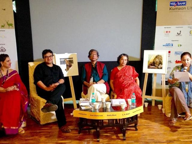 A poetry-reading session on at the Kumaon literary festival, the brainchild of Sumant Batra (inset).