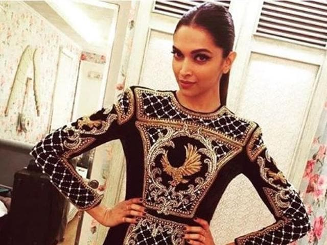 The 30-year-old star's frequent stylist, Shaleena Nathani, posted on Instagram few pictures of the actress donning a black and golden dress by French fashion house Balmain.