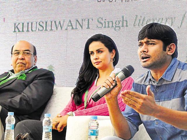 (From Left to right ) Lt. General Syed Ata Hasnain (retd), actor Gul panag and JNSU president Kanhaiya Kumar during a session at fest in Kasauli on Saturday.