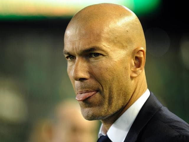 Real Madrid's French coach Zinedine Zidane during the La Liga match against Real Betis.