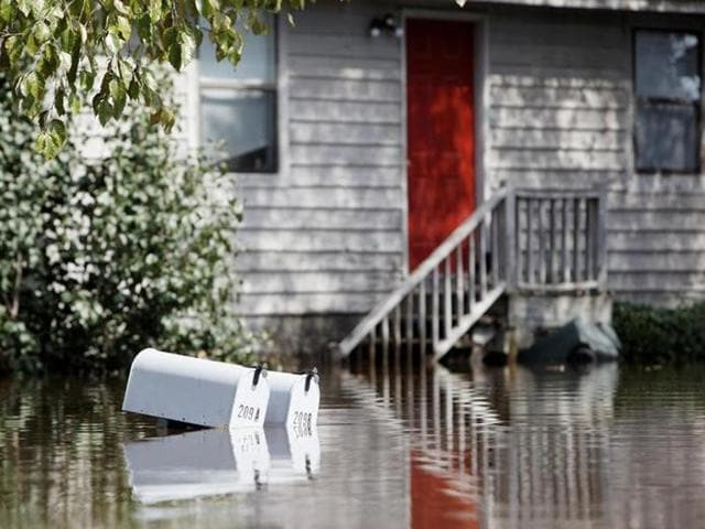 A submerged neighbourhood in North Carolina in the aftermath of Hurricane Matthew in which 26 people have lost their lives.