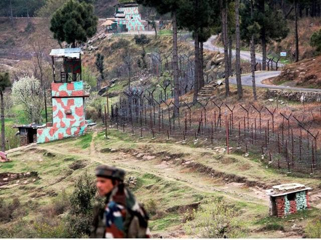 An Indian border post near the fencing on the Line of Control (LoC) in Balakote Sector in Poonch on Sunday.