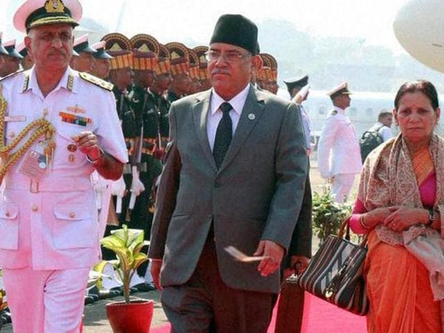 Nepal Prime Minister Pushpa Kamal Dahal 'Prachanda' (second right) arrives in Goa for the BRICS-BIMSTEC outreach summit.