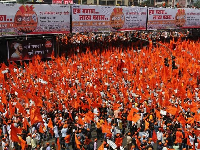 The Marathas held a silent protest in Thane on Sunday, demanding reservation for their community and justice for Kopardi rape victim.