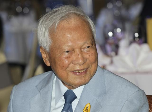 File photo of Prem Tinsulanonda, head of the Privy Council was formally confirmed as the regent to manage the throne following the death of Thailand's King Bhumibol Adulyadej.