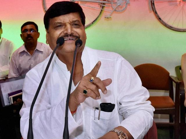 Samajwadi Party's state chief Shivpal Yadav addresses party workers in Lucknow.