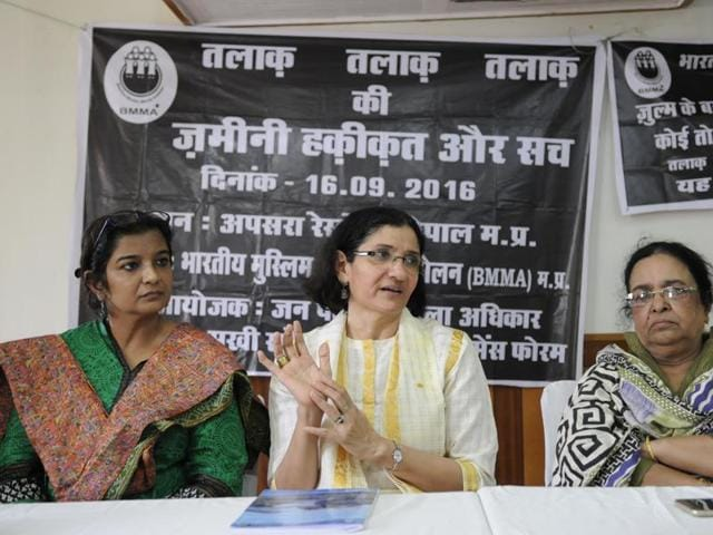 Bhartiya Muslim Mahila Andolan founder Zakia Sonam addressing a press conference on triple talaq in Bhopal.